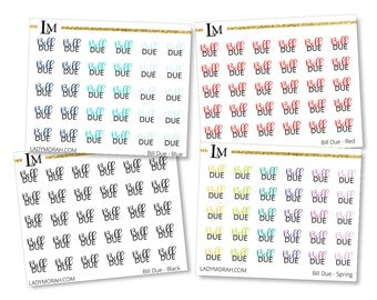 Bill Due Stickers - Rainbow - Planner Stickers - Spring Colors