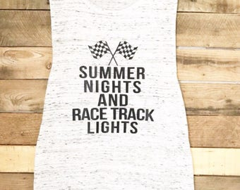 Summer Nights and Racetrack Lights, Muscle Tank, Dirt Track Racing, Drag Racing, Racing Shirt, Racing Tank Top, Racing Tshirt, Bella Canvas
