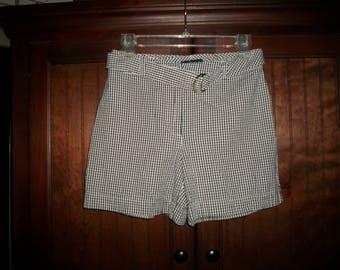 Vintage 90s Ann Taylor Black, White Gingham Plaid Shorts Size 2