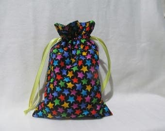 Small Bright Stars on Black Draw String Bag