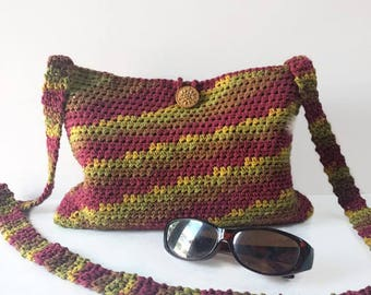 Crocheted purse red handmade bag shoulder bag crossbody purse women's bag messenger bag summer bag boho bag