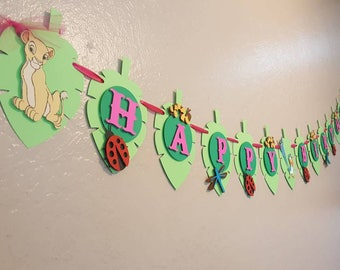Lion King Banner, Lion Guard Happy Birthday  Banner with a hint of Pink
