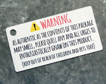 Humorous Warning Label Gift Tags for Soaps Wax Melts and Non-Edible Fragrant Products - Fun Warning Labels for Candles Set of 40
