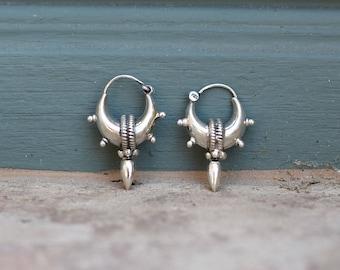 Sterling silver tribal gypsy hoops earring