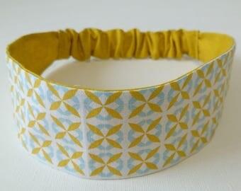 Elastic headband, reversible headband woman graphic printed mustard yellow and blue