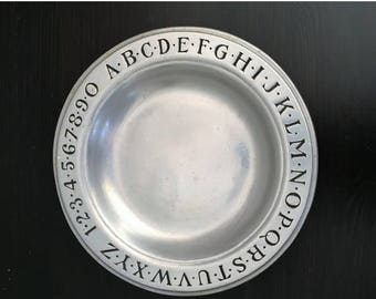 SALE Pewter Plate with Alphabet & Numbers