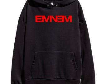 Eminem Red Logo Hoodie Classic Hip Hop Rap Vintage Style Sweatshirt Revival Slim Shady Records Aftermath Entertainment Detroit
