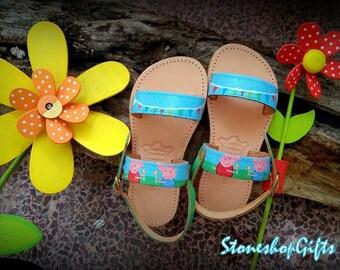 """Handpainted Sandals """"Peppa pig"""""""