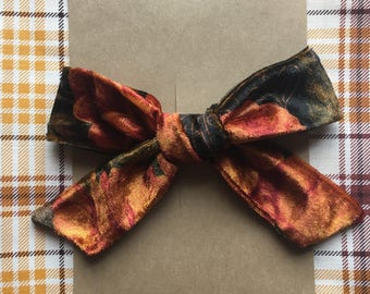 Hand tied floral velvet schoolgirl bow