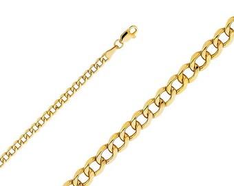 "10K Yellow Gold Hollow Cuban Bracelet 3.5mm 7-9"" - Curb Chain Link"