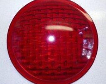 Vintage street light - red light - glass light - glass street light - red glass - vintage lighting - red stop light - stop light - light red