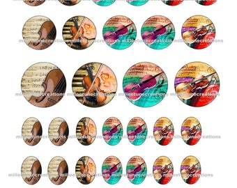 Series 26 - 40 Digital Images music violin creations cabochons - sending by e-mail