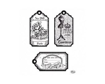 Set of 3 transparent labels Paris stamps