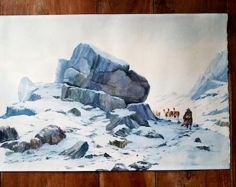 Peruvian Andes Mountains Watercolor Painting by J Hurtado L,  Andes Mountains, Peruvian Art, South American Art, J Hurtado L Art
