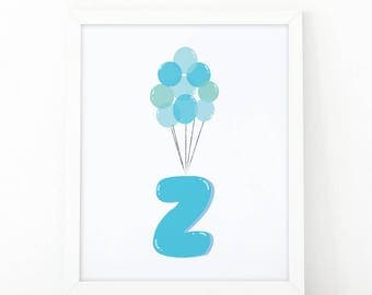 Initial z, Z letter Balloons, baby Blue Balloons, initial Printable, Letter Nursery, Nursery Initial Print, Blue Initial Balloons, Up Disney