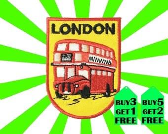 London Double Decker Bus iron on patch applique