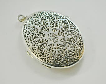 Antique Victorian Sterling Silver Locket, Large Oval Locket Pendant, Etched Locket