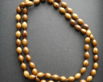 Polished natural wooden beads, vintage necklace, long single strand