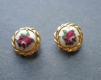 Petit point cross stitch rose vintage clip on earrings