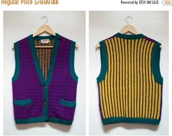 CLEARANCE SALE Vintage 100% Wool Vest French Connection Size S Striped Plaid Vest Mustard Purple Kooky Sweater Party Sweater Made in Hong Ko
