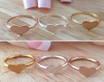 Tiny Heart Ring, Rose Heart Ring, Silver Heart Ring, Golden Heart Ring, Love Heart Ring, Best Friend Ring, Bridesmaid Ring, Valentine Ring