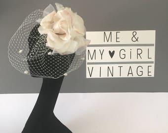 Gorgoeous large flower birdcage veil/ Flower veil / Wedding fascinator / Pink flower veil / Flower headpiece with veil / Wedding birdcage ve