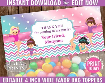 INSTANT DOWNLOAD / edit yourself now / Printable / Treat Bag toppers / Gymnastic / Birthday Party / Purple teal  Pink Girl Gymnastics TBG3