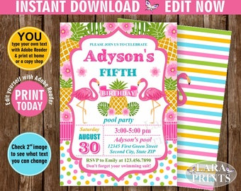 INSTANT DOWNLOAD / Birthday Invitation / Flamingo / Pineapple / Birthday Invite / Printable / Luau / Hawaiian / Party / Girl Pink Teal BDP3