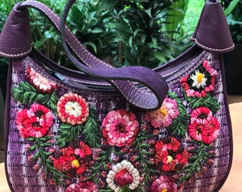 Sale 20 off!Huipil bag made with leather and hand embroidered huipil from Atitlan