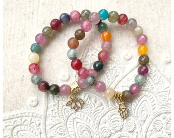 Faceted Agate bracelet  set + Zen Charms, Lotus and Hamsa