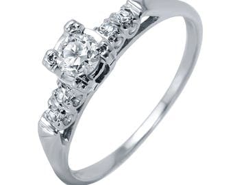 14KT White Gold 0.41ctw Diamond Engagement Ring, 2.48gm. Size: 8 -499