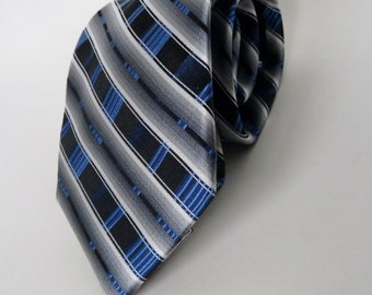100% Silk Blue and Gray Diagonal Stripe Necktie/PRONTO-UOMO Couture Handmade all Silk Men's tie/reinforced/Father Husband Gift for Men
