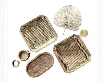 Bamboo Tone Basket Set/7 | Woven Palm Fan Wall Hanging Basket Sets Coiled
