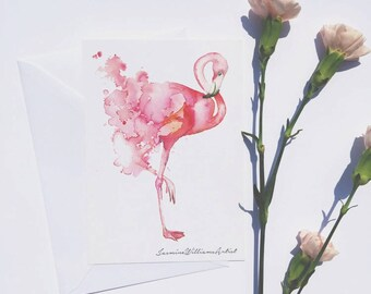 Flamingo postcard, print, watercolour, pink