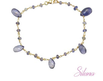 Bracelet in vermeil (sterling silver 925 gold plated) and iolite