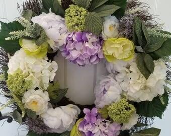 Summer wreath / spring wreath/ front door wreath/door wreath/ housewarming wreath/ housewarming gift