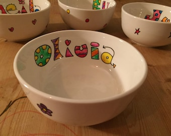 Hand painted personalised cereal bowl. Personalised with name and patterned rim
