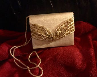 Vintage gold, beaded bag