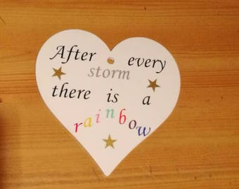 After every storm there is a rainbow, rainbow baby hanging heart, rainbow baby plaque, nursery decor, door plaque, wall plaque, baby shower