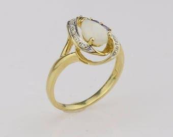 10k Yellow Gold Tanzanite Opal & Diamond Ring Size 7.25(01255)