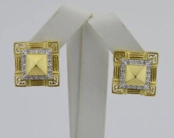 14k Yellow & White Gold Estate Diamond Greek Key Omega Back Earrings(02480)
