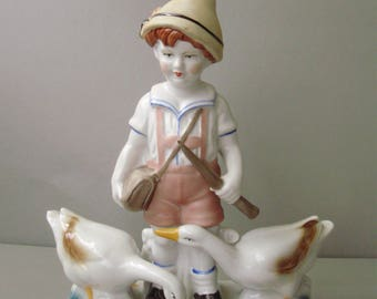 VINTAGE, porcelain,children,little BOY with GEESE,stamped