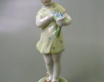 Vintage,Hungarian, ZSOLNAY porcelain child figurine,little girl w.ball,handpainted stamped
