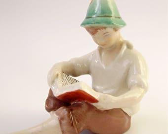 Vintage Drasche porcelain boy figurine,reading boy  ,stamped,handpainted,фарфоровая статуэтка