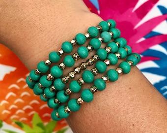 Turquoise Wood Bracelet
