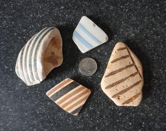 STRIPEY BEACH POTTERY - Striped Sea Pottery - Scottish Sea Pottery - Beach Ceramics - Earthenware - Stoneware (048)