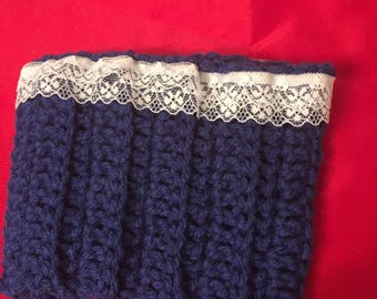 SKU 10010 Blue with White Lace Trim Boot Cuff