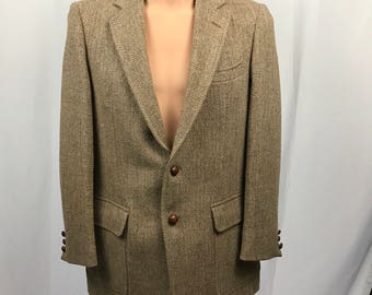 43R Vintage Sport Coat Harris Tweed Wool Size L Brown HERRINGBONE Blazer Jacket