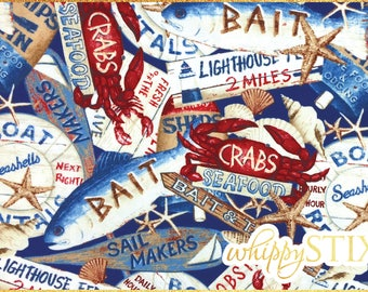 Nautical Fabric By the Yard, Seaside Escape by David Carter Brown Wilmington Prints, Marina Pier Crabs Lobster Fisherman Beach, Hard to Find