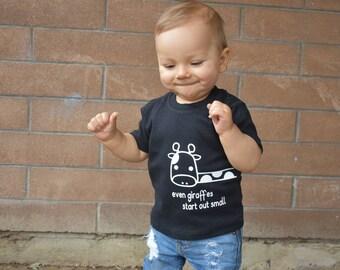Giraffe shirt, baby shirt, even giraffes start out small, cute animal shirt, growth shirt, growing shirt, height shirt, animal shirt, babies
